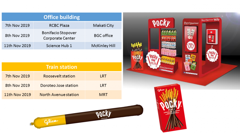 Pocky, Share happiness!, Say Pocky, Pocky day, 11.11, 11th November, Philippines, Manila, Global campaign, Glico, Smile, Pop-ups, Pocky balloon